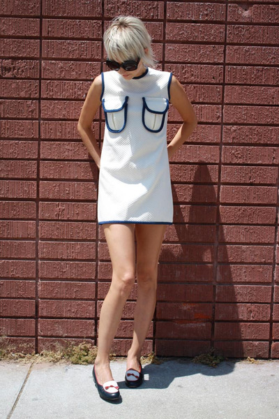 white vintage dress - blue Brooks Brothers shoes - black Forever 21 sunglasses