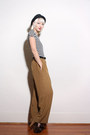 Black-vintage-hat-brown-chanel-pants-white-vintage-striped-ann-taylor-bodysu