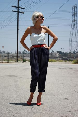 white vintage top - blue vintage pants - red vintage belt - red vintage shoes