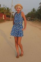 beige BDG hat - blue Jessica Howard dress - brown vintage shoes