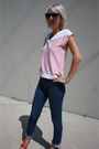 White-vintage-top-blue-judi-rosen-jeans-red-c-ronson-shoes-blue-forever-21