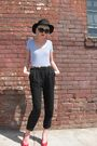Black-deena-ozzy-hat-blue-touch-me-top-black-h-m-pants-red-charles-jourd