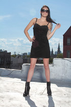 black suede bodycon vintage dress