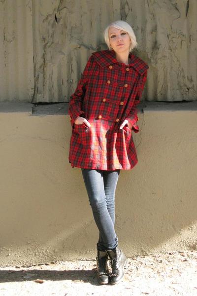 red vintage from Castaway Vintage jacket - blue Cheap Monday jeans - black Justi