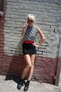 White-vintage-from-castaway-vintage-top-black-h-m-skirt-red-h-m-belt-black