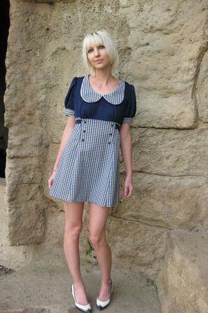 blue vintage from castawayvintage dress - white vintage shoes