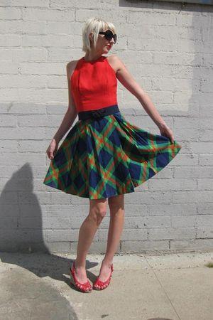 red Joan leslie by Kasper dress - black Forever 21 sunglasses - blue vintage bel