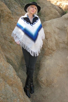 black Deena and Ozzie hat - white vintage from Castaway Vintage sweater - black