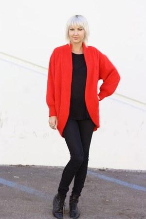 black vintage boots - black Helmut Lang jeans - red angora cocoon vintage sweate