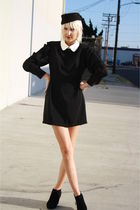 black vintage dress - black H&M hat - black Forever 21 shoes