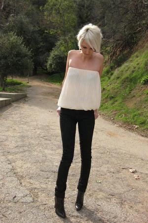 white vintage from Castaway Vintage top - black Judi Rosen jeans - black vintage