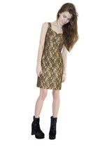 Vintage Metallic Gold Black Lace Baroque Bodycon fit Dress