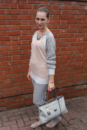 light pink Dorothy Perkins jumper - heather gray Prada bag