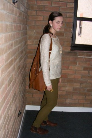 beige knitware vintage jumper - brown Office boots