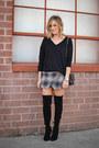 Stuart-weitzman-boots-joie-sweater-chanel-bag-skort-forever-21-skirt