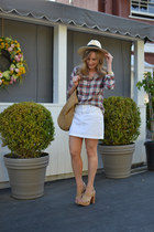 brick red plaid JCrew shirt - beige straw hat H&M hat