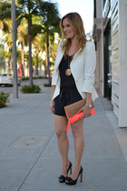 orange H&M bag - white Elizabeth and James blazer - black JCrew romper