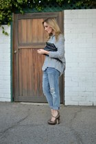 blue Current Elliott jeans - heather gray Qi sweater