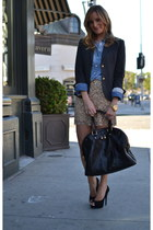 black YSL bag - charcoal gray JCrew blazer - blue chambray JCrew shirt