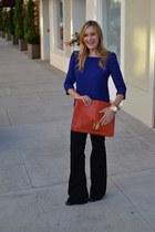 burnt orange asos bag - black 7 for all mankind jeans - blue Zara shirt