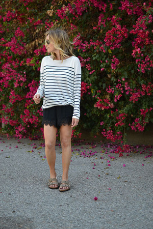 random brand shorts - striped H&M sweater - random brand sandals