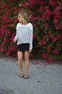 Striped-h-m-sweater-random-brand-shorts-random-brand-sandals