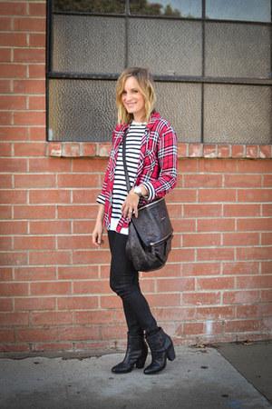 striped t by alexander wang shirt - plaid Rails shirt - ankle rag & bone boots