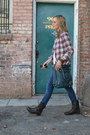 Dark-brown-motorcycle-rag-bone-boots-navy-blank-jeans