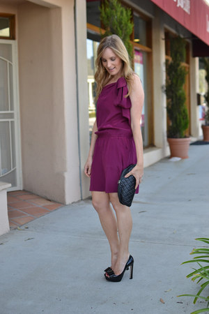 maroon Mason dress - black clutch Chanel bag - black peep toe Miu Miu heels