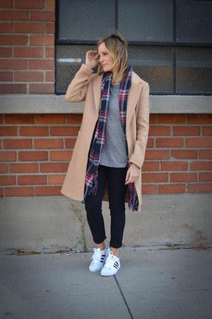 Forever 21 coat - J Brand jeans - monrow shirt - Forever 21 scarf