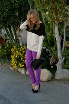 purple Current Elliott jeans - black Zara sweater - black clutch Forever 21 bag