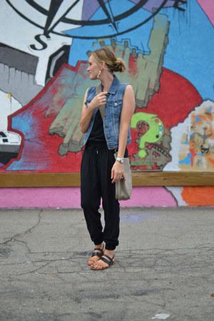 jumpsuit Joie romper - Hermes bag - denim JCrew vest - JCrew earrings