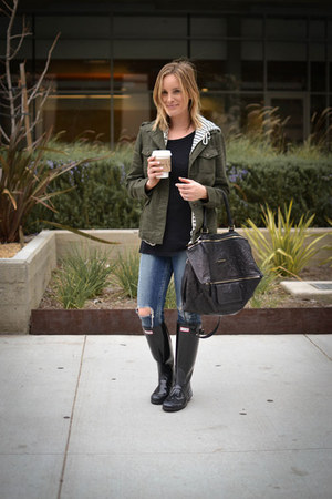 rain boots Hunter boots - citizens of humanity jeans - Forever 21 jacket