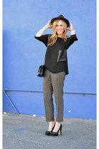 black Zara shirt - dark brown Forever 21 hat - black Chanel bag