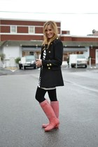 red rain Hunter boots - black Forever 21 coat - striped H&M sweater