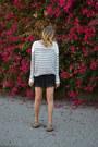 Striped-h-m-sweater-random-brand-shorts-random-brand-sandals