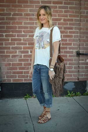 fringed Forever 21 bag - citizens of humanity jeans - Current Elliott shirt