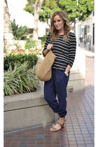 Joie pants - straw tote JCrew bag - Mossimo sandals - Joie top