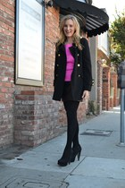 hot pink Forever 21 sweater - black Forever 21 boots - black Forever 21 coat