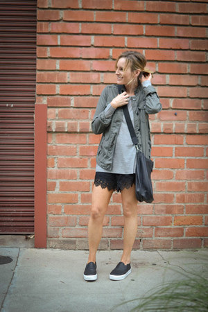 army green Gap jacket - heather gray Forever 21 shirt - black Hermes bag