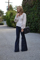 bell bottom 7 for all mankind jeans - Chanel bag - Parker blouse
