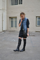navy denim JCrew vest - black 5050 stuart weitzman boots