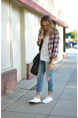 t-shirt C&C shirt - plaid JCrew shirt - Joes Jeans jeans - Paul & Joe Sister bag