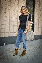 suede ankle Aerin boots - boyfriend citizens of humanity jeans - IRO Paris shirt