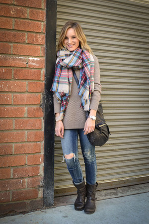 plaid Forever 21 scarf - rag & bone boots - citizens of humanity jeans