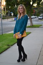 gold clutch tory burch bag - black Forever 21 boots