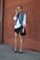 cross body Hermes bag - Zara blouse - lace Jimmy Choo heels - denim JCrew vest