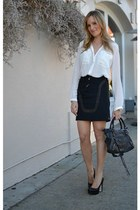 black balenciaga bag - white Zara blouse - black Alice & Olivia heels