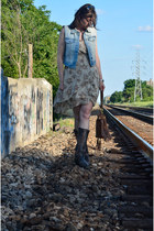 Frye boots - Blu Pepper dress - Just Usa vest