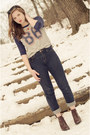Vintage-boots-h-m-jeans-forever-21-shirt
